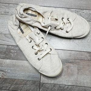 Shoes - Slip on memory foam oatmeal colored sneakers 9